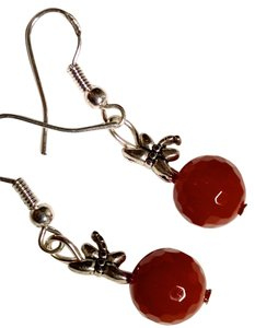 New Carnelian Gemstone DragonFly Handmade Earrings Orange Silver J1152