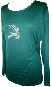 Karen Scott Holiday Embellished Reindeer T Shirt GREEN