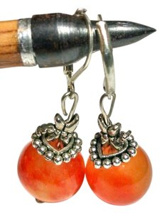 New Handmade Orange/Red Agate Gemstone Earrings DragonFly J1154