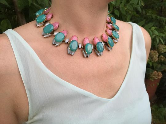 Other Blue Pink Bright Crystal Jewel Fashion Statement Necklace