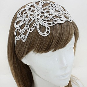 Pave Inlaid Crystal Floral Stretch Wedding Bridal Headband Hair Accessory Jewelry