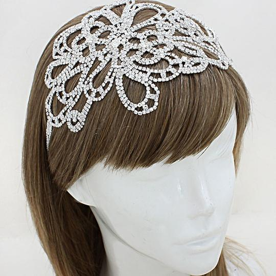 Clear Pave Inlaid Crystal Floral Stretch Headband Hair Accessory