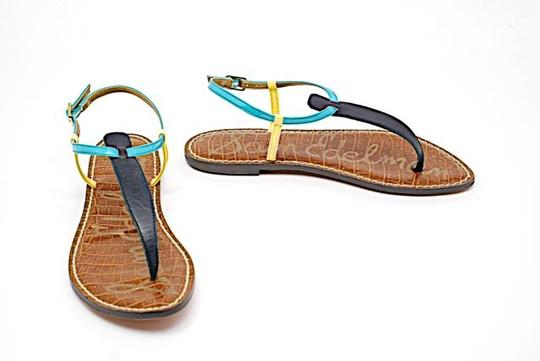 Sam Edelman Thong Buckle Leather Turquoise & Orange Sandals