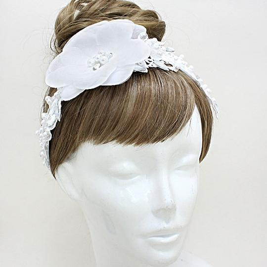 White and Clear Floral Pearl Crystal Lace Headband Hair Accessory