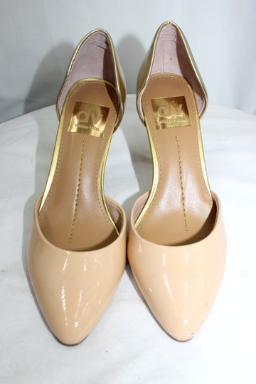 DV by Dolce Vita Patent Leather Heels LATTE/GOLD Pumps