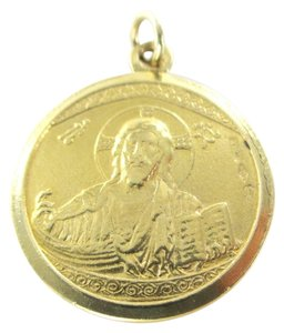 18K SOLID YELLOW GOLD PENDANT CEFALU IL DUOMO JESUS NO SCRAP MEDAL 5.6 GRAMS