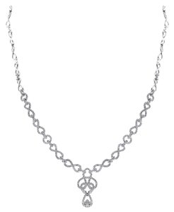 Ladies White Gold Diamond Pendant Necklace