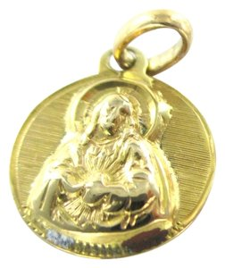 18K SOLID YELLOW GOLD PENDANT RELIGIOUS CHARM 1.0 GRAM NO SCARP MEDALLION ROUND