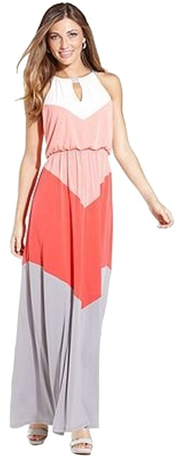Item - White Gray Peach Pink Colorblock Chevron Halter Reduced Long Casual Maxi Dress Size 2 (XS)
