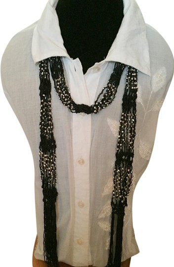 Tangerine NYC Black scarf with silver beads