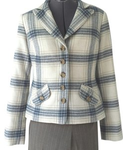 Sundance Jackets Plaid Wool Cream and Blue Blazer