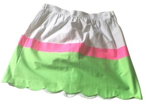 Lilly Pulitzer Mini Skirt Neon pink/green and white