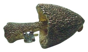 Les Bernard LOVELY VINTAGE GOLD & STERLING DIAMOND CRYSTAL TEXTURED MUSHROOM PIN LES BERNARD
