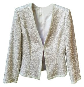 Oleg Cassini Formal Vintage White beaded Blazer