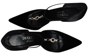 Vaneli Formal Evening Black Satin Pumps
