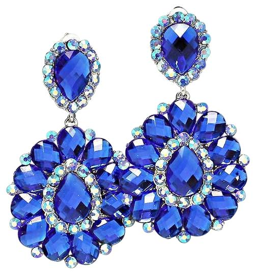 Office Glam collection Blue Rhinestone Crystal AB clipon Chandelier Earrings