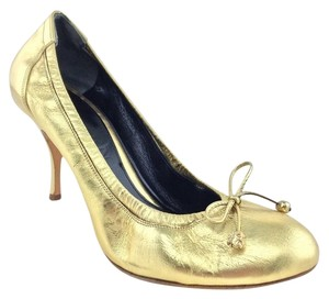 Alexander McQueen Stiletto Gold Pumps