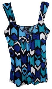 INC International Concepts Blue Teal White Black V-neck Xl Top Multi Color