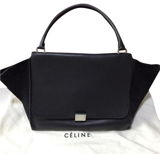Céline Suede Trapeze Structured Satchel in Black