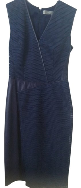 Item - Navy Honeycomb with Leather Panel Sleeveless Knee Length Work/Office Dress Size 2 (XS)
