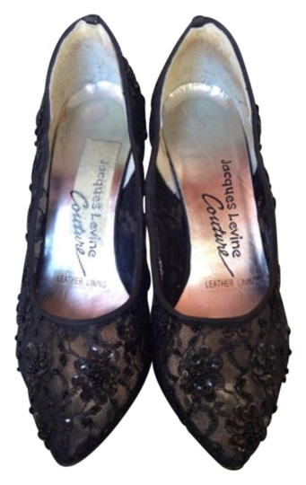Jacques Levine Party Beaded Couture See-through Black Pumps