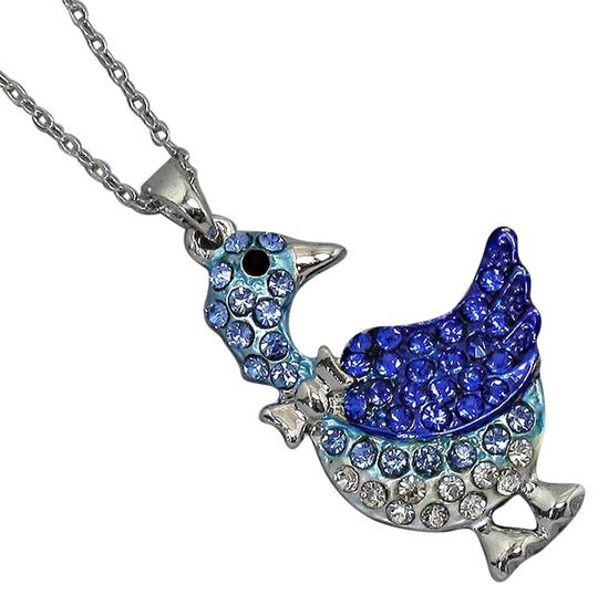 Office Glam Collection Multicolor Blue Crystal Pendant Silver Chain Necklace