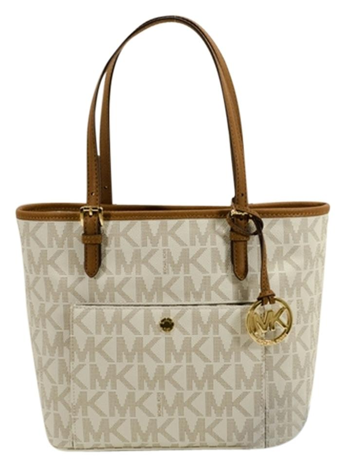 01bf57e70e1b Michael Kors Jet Set Medium Snap Pocket Brown  Khaki  White Vanilla Tote