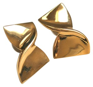 Givenchy VINTAGE GIVENCHY TWISTED GOLD BOW EARRINGS