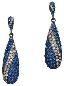 Office Glam Collection Sparkling Blue Multi Crystal AB Hematite Drop Chandelier Earring