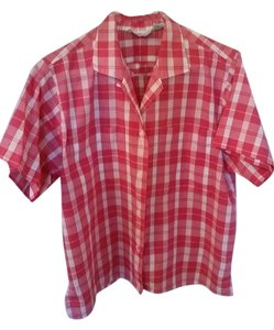 Partners by Mervyn's Button Down Shirt Dark Pink/white
