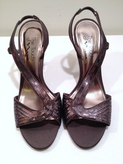 Nina Sequin Slingback Open Toe Satin Leather Charcoal / Silver Formal