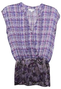 CAbi Vintage Top purple patterned