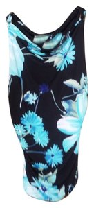 Cache Top Black and Blue Floral