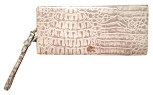 Lodis Crocodile Leather Faux Patent taupe Clutch