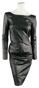 Karl Lagerfeld Leather Vegan Faux Leather Long Sleeve Dress