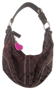 Coach Leather Silver Jacquard Embroidered Classic Structured Shoulder Bag