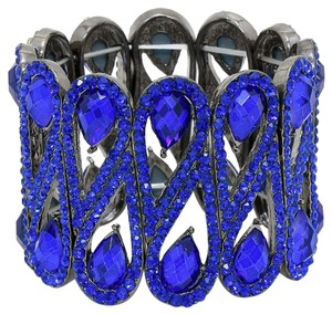 Office Glam Collection Elaborate Blue Teardrops Crystal Stretchable Cuff Bracelet