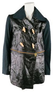 Gloverall Cropped Coated Color Block Black Jacket
