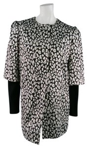 Just Cavalli Metalic Leopard Animal Print Puff Sleeve Coat