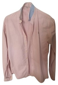Ralph Lauren Pink Fitted Classic Casual Button Down Shirt Pink/White Stripe