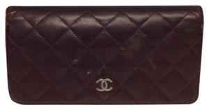 Chanel Chanel #2446 Timeless CC silver Purple Quilted Lambskin Long bifold wallet with zippy zip pocket