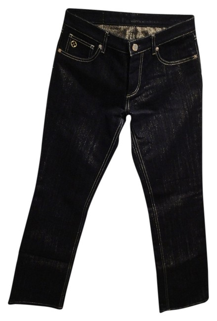 Item - Black W/Gold Threading Dark Rinse Straight Leg Jeans Size 27 (4, S)