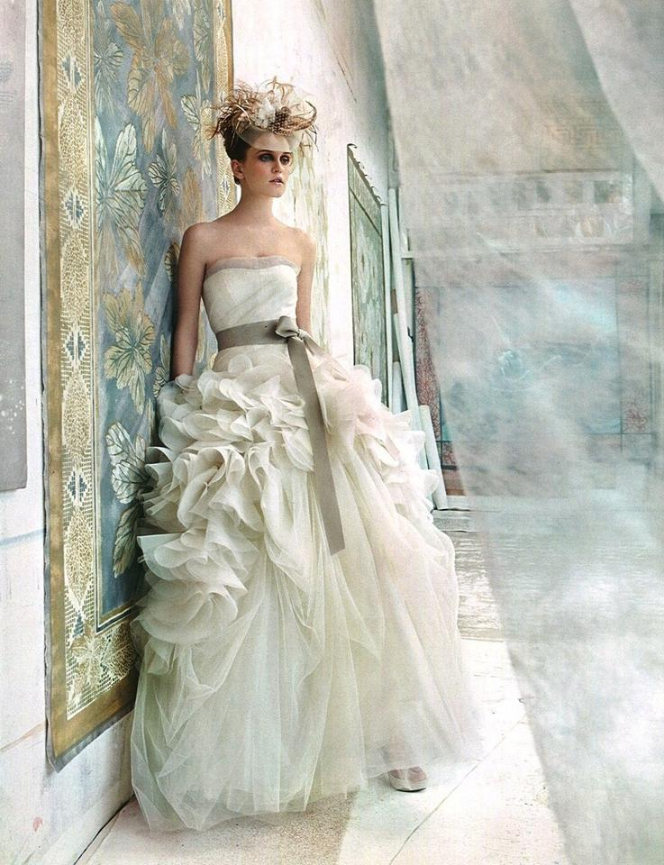 Vera Wang Ivory Organza Hayley Wedding Dress Size 4 (S) - Tradesy