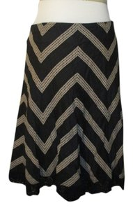 Ann Taylor Striped Crochet Pattern Skirt Black