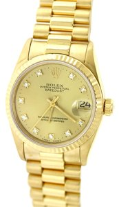 Rolex MINT Ladies Rolex DateJust MidSize 31mm 68278 Solid 18k Yellow Gold President Watch