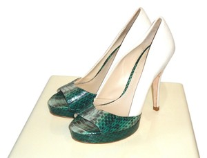 Elizabeth and James Python White Pumps