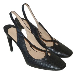 Elizabeth and James Snakeskin Slingback Sz.6 Black Pumps