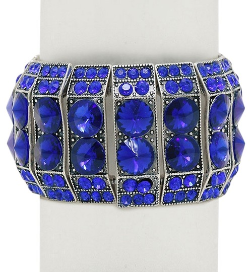Office Glam Collection Blue Arabian Crystal Stretchable Cuff Bracelet