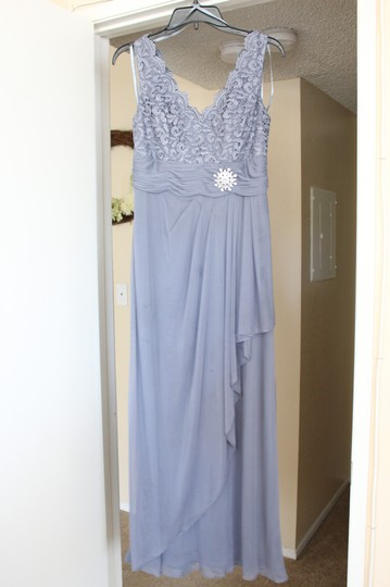 Cachet Blue/ Steel Blue Polyester Blend and Metallic Blend Formal Bridesmaid/Mob Dress Size 6 (S)