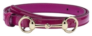 Gucci Gucci Women's Belt Thin Gold Horsebit Pink Patent Leather Style 282349 Size 85